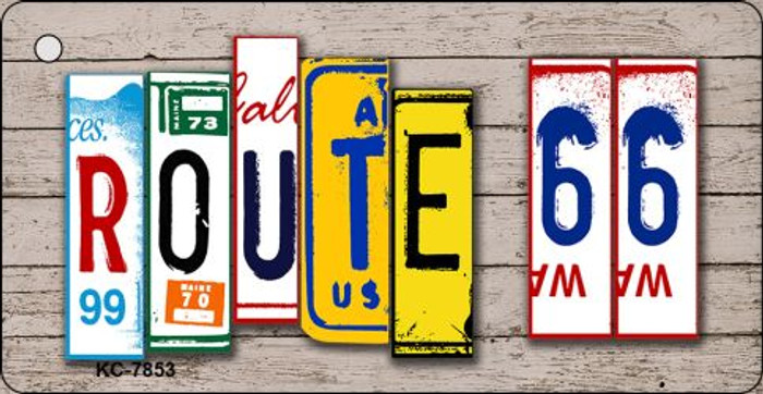 Route 66 License Plate Art Wood Pattern Metal Novelty Mini License Plate Key Chain