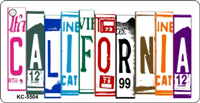 California License Plate Art Metal Novelty Mini License Plate Key Chain