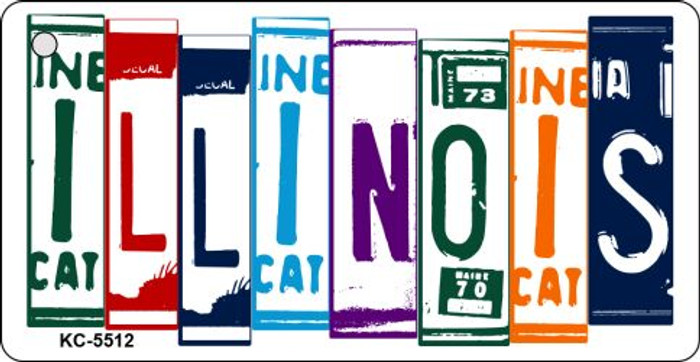Illinois License Plate Art Metal Novelty Mini License Plate Key Chain