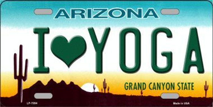 I Love Yoga Novelty Metal License Plate