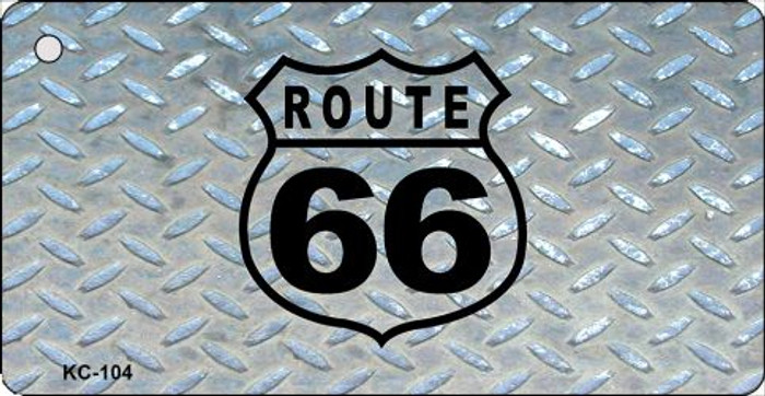 Route 66 Diamond Mini License Plate Metal Novelty Key Chain