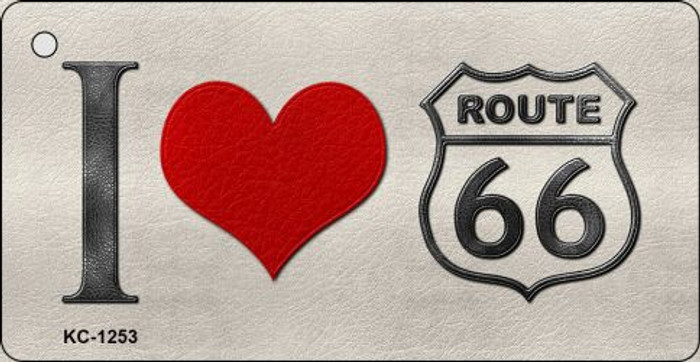 I Love Route 66 Mini License Plate Metal Novelty Key Chain