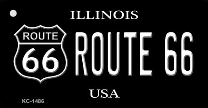 Illinois Route 66 Black Novelty Metal License Plate