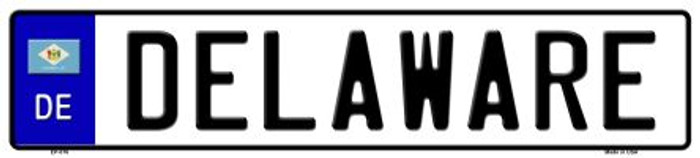 Delaware Novelty Metal European License Plate