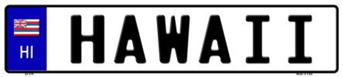 Hawaii Novelty Metal European License Plate