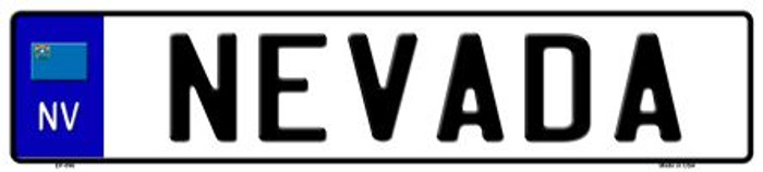 Nevada Novelty Metal European License Plate