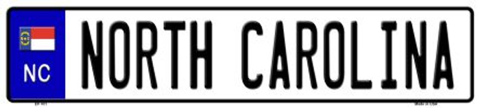 North Carolina Novelty Metal European License Plate