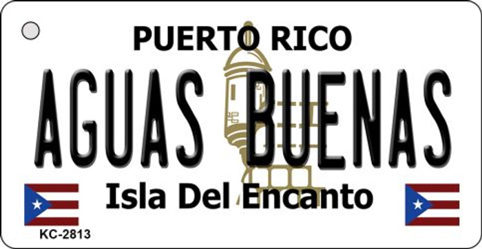 AGUAS BUENAS PUERTO RICO STATE FLAG BACKGROUND NOVELTY METAL LICENSE PLATE TAG