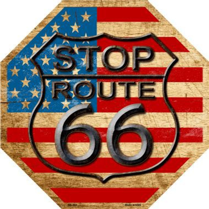 Route 66 American Flag Vintage Metal Novelty Stop Sign