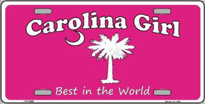 Carolina Girl Pink Novelty Metal License Plate