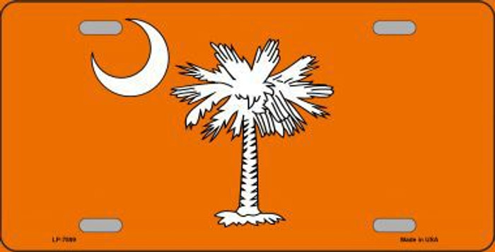 South Carolina Flag Orange Novelty Metal License Plate