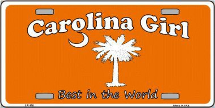 Carolina Girl Orange Metal Novelty License Plate