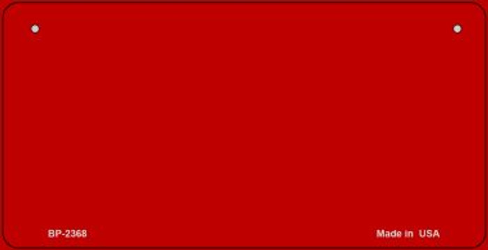 Red Blank Novelty Metal Bicycle License Plate