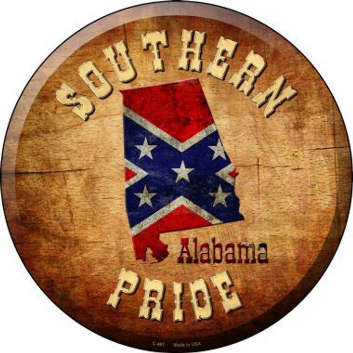 Southern Pride Alabama Novelty Metal Circular Sign