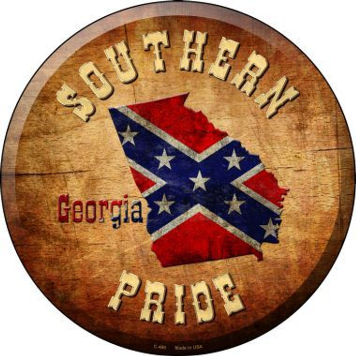 Southern Pride Georgia Novelty Metal Circular Sign