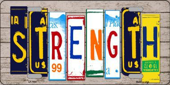 Strength Wood License Plate Art Novelty Metal License Plate