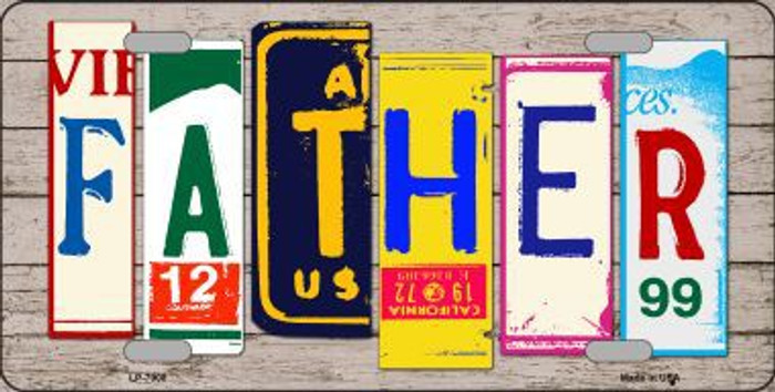 Father Wood License Plate Art Novelty Metal License Plate