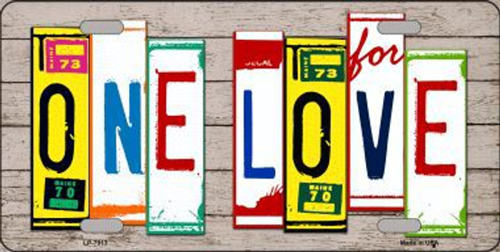 One Love Wood License Plate Art Novelty Metal License Plate