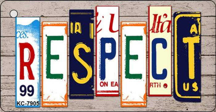 Respect Wood License Plate Art Novelty Key Chain