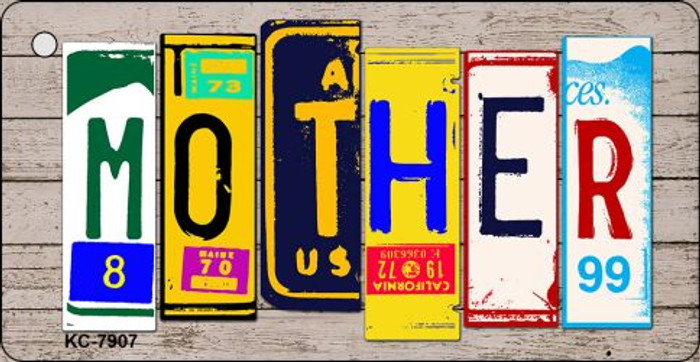 Mother Wood License Plate Art Novelty Key Chain