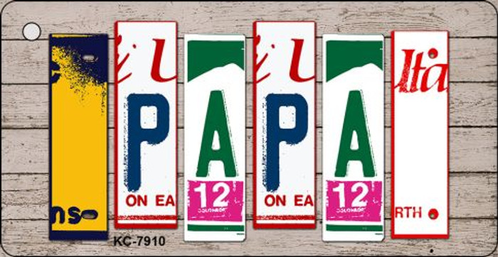 Papa Wood License Plate Art Novelty Key Chain