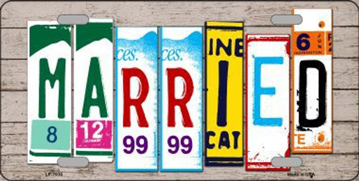 Married Wood License Plate Art Novelty Metal License Plate
