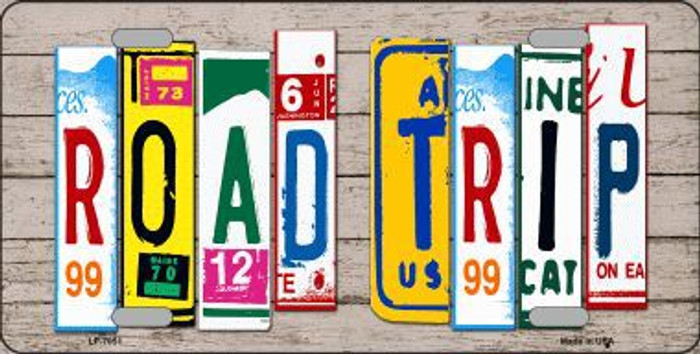 Road Trip Wood License Plate Art Novelty Metal License Plate