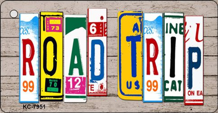 Road Trip Wood License Plate Art Novelty Key Chain