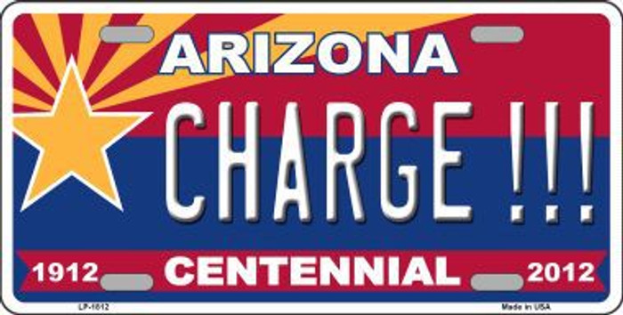 Arizona Centennial Charge Metal Novelty License Plate