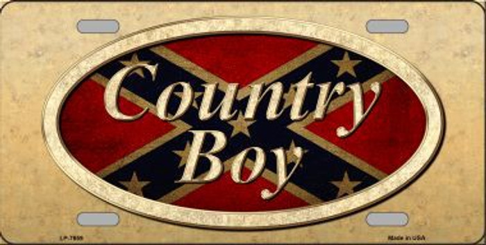 Country Boy Novelty Metal License Plate