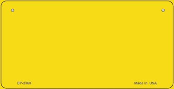 Yellow Blank Novelty Metal Bicycle License Plate