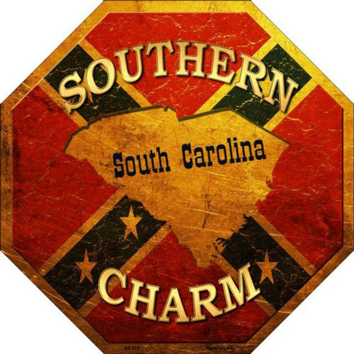 Southern Charm South Carolina Metal Novelty Stop Sign