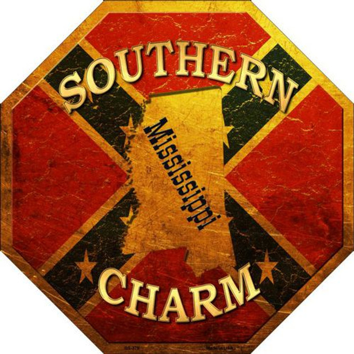 Southern Charm Mississippi Metal Novelty Stop Sign