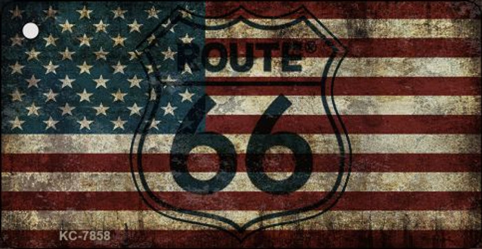 Route 66 American Flag Transparent Novelty Key Chain