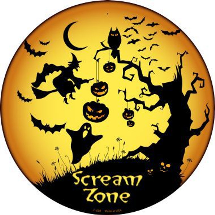Scream Zone Novelty Metal Circular Sign