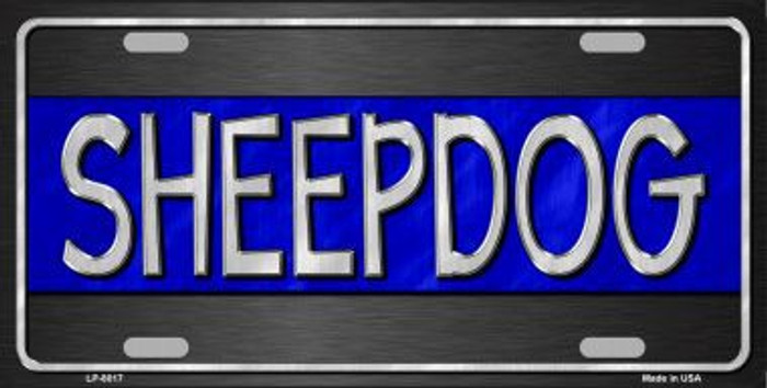 Sheepdog Thin Blue Line Novelty Metal License Plate