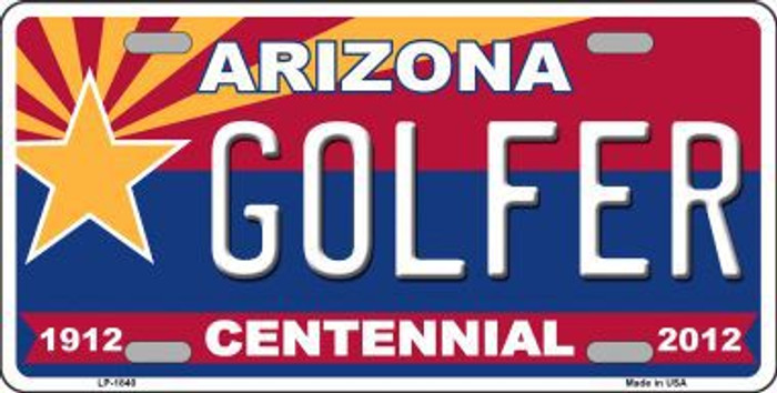 Arizona Centennial Golfer Metal Novelty License Plate