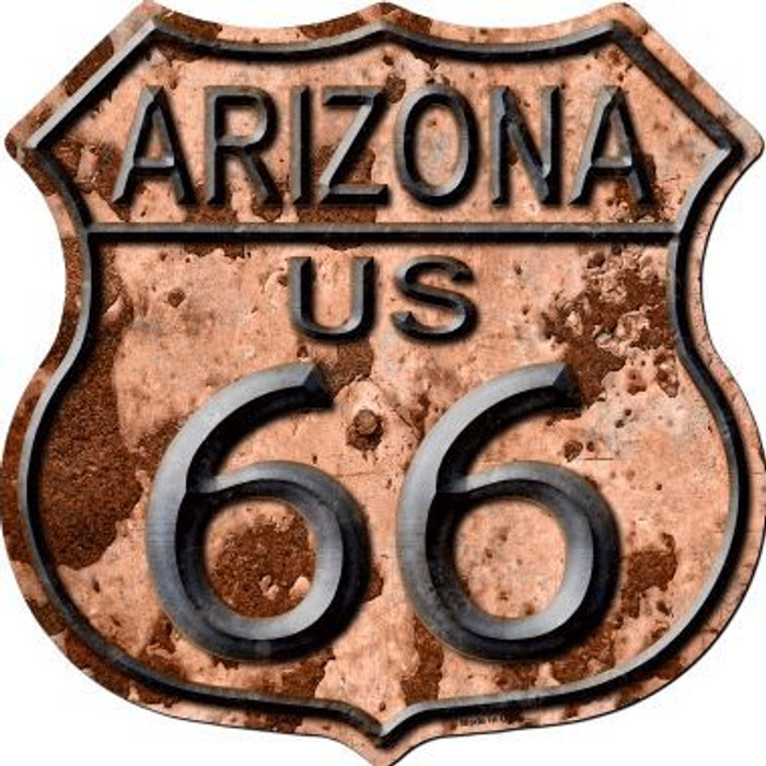 Arizona Route 66 Rusty Metal Novelty Highway Shield