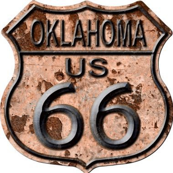 Oklahoma Route 66 Rusty Metal Novelty Highway Shield