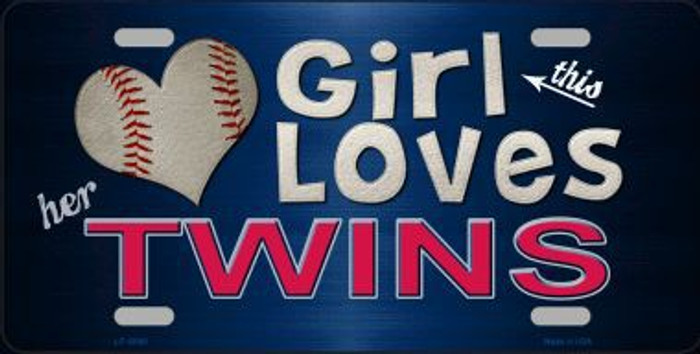 This Girl Loves Her Twins Novelty Metal License Plate