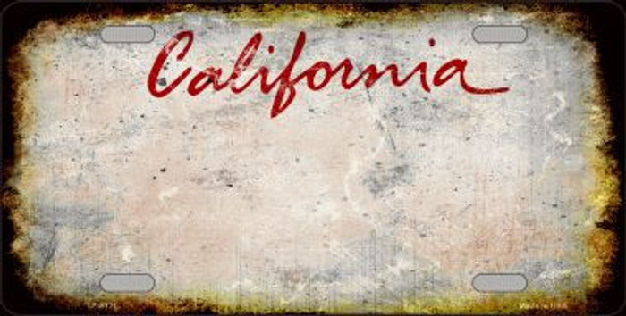 California State Background Rusty Novelty Metal License Plate
