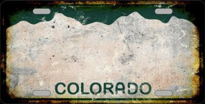 Colorado State Background Rusty Novelty Metal License Plate