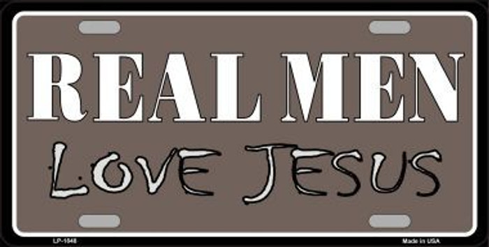 Real Men Love Jesus Metal Novelty License Plate