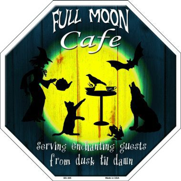 Full Moon Cafe Metal Novelty Stop Sign
