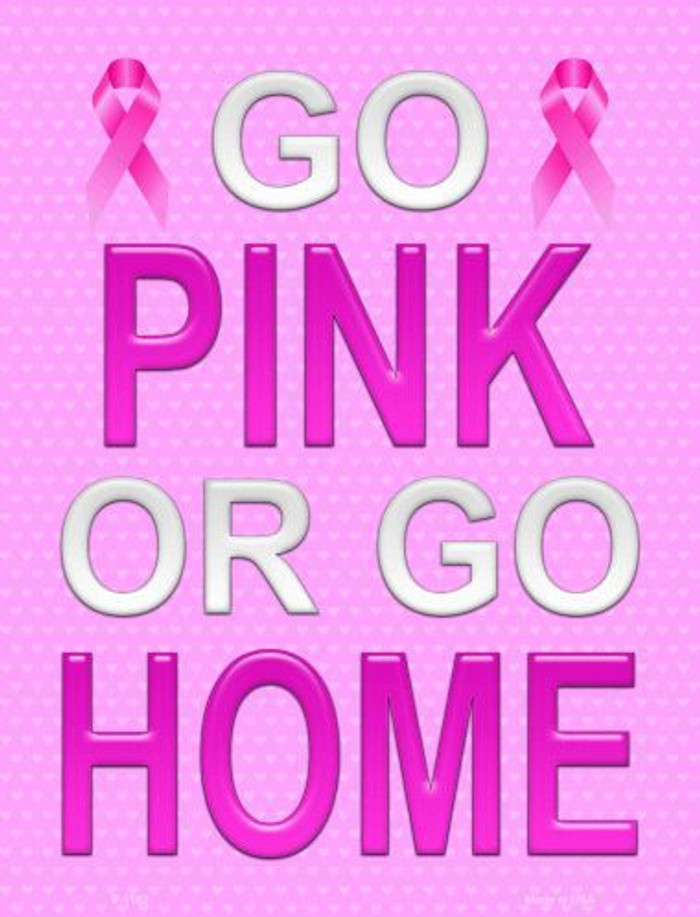 Go Pink Or Go Home Breast Cancer Metal Novelty Parking Sign
