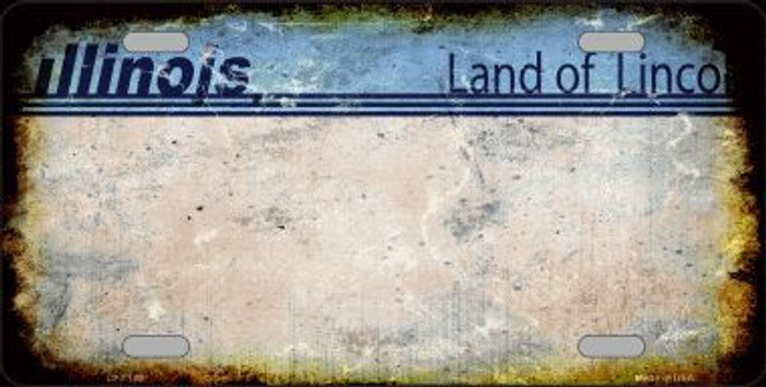 Illinois State Background Rusty Novelty Metal License Plate
