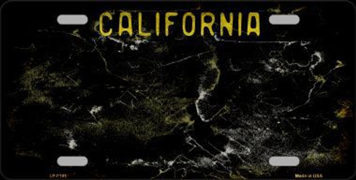 California Black State Background Rusty Novelty Metal License Plate