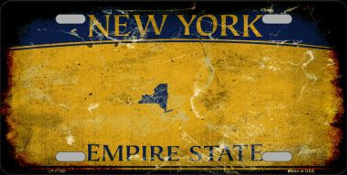 New York State Background Rusty Novelty Metal License Plate