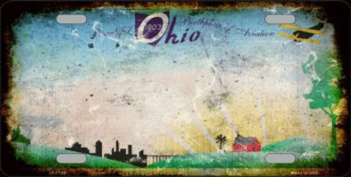 Ohio State Background Rusty Novelty Metal License Plate