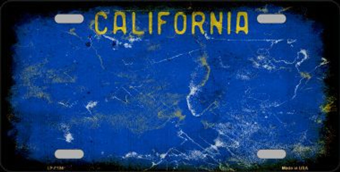 California Blue State Background Rusty Novelty Metal License Plate